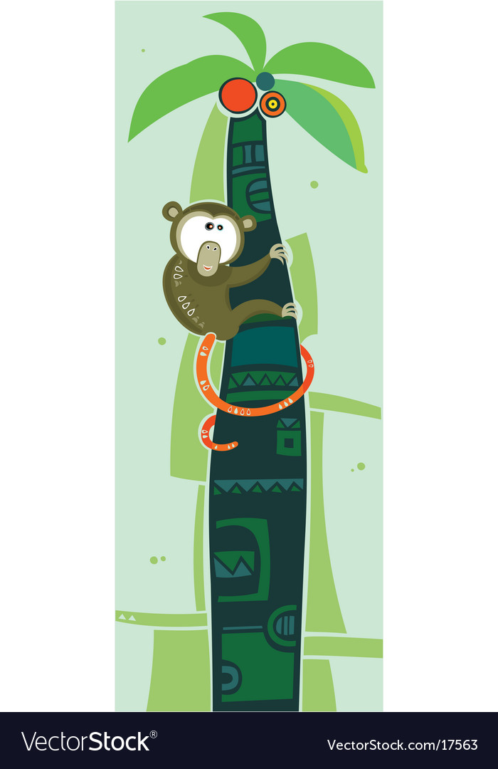 Brown monkey on palm tree vector | Price: 3 Credit (USD $3)