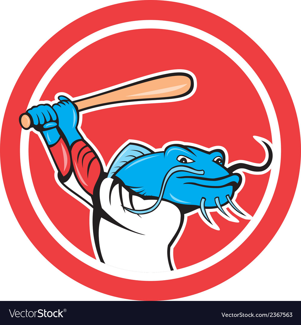 Catfish baseball player batting cartoon vector | Price: 1 Credit (USD $1)
