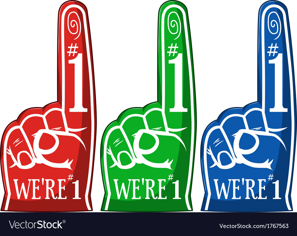 Cheering pointing finger three colors pack vector | Price: 1 Credit (USD $1)