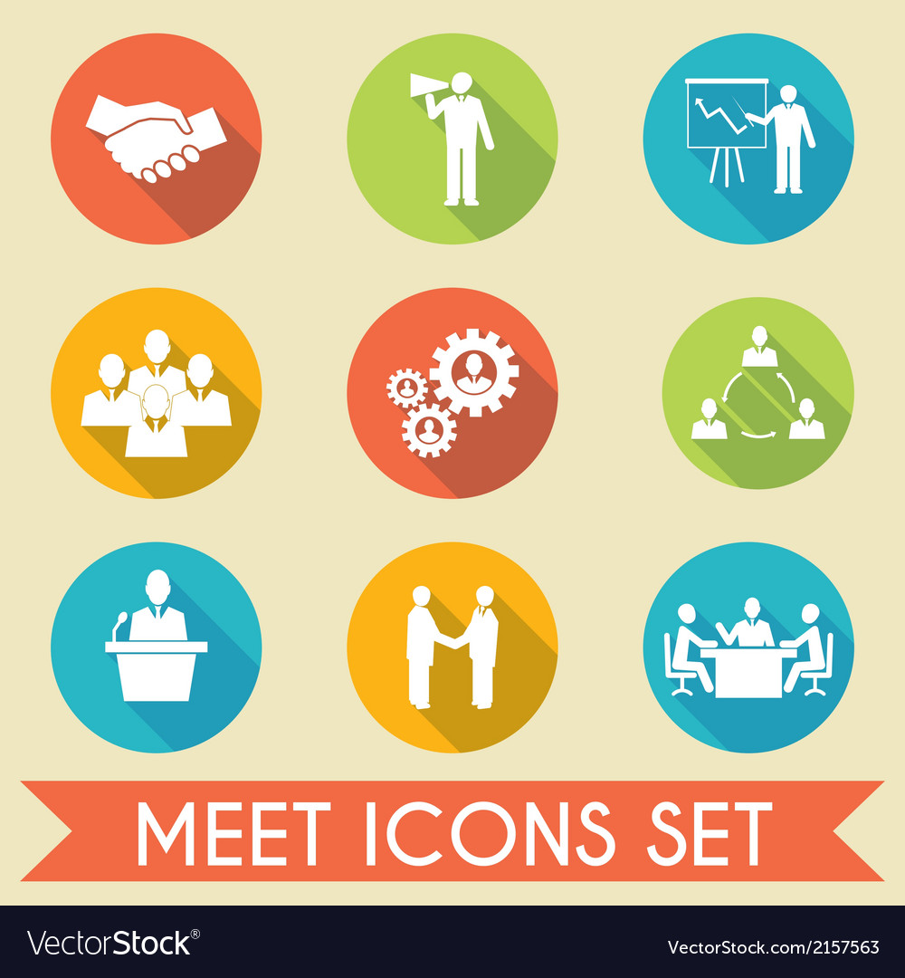 Meet business partners icons set vector | Price: 1 Credit (USD $1)