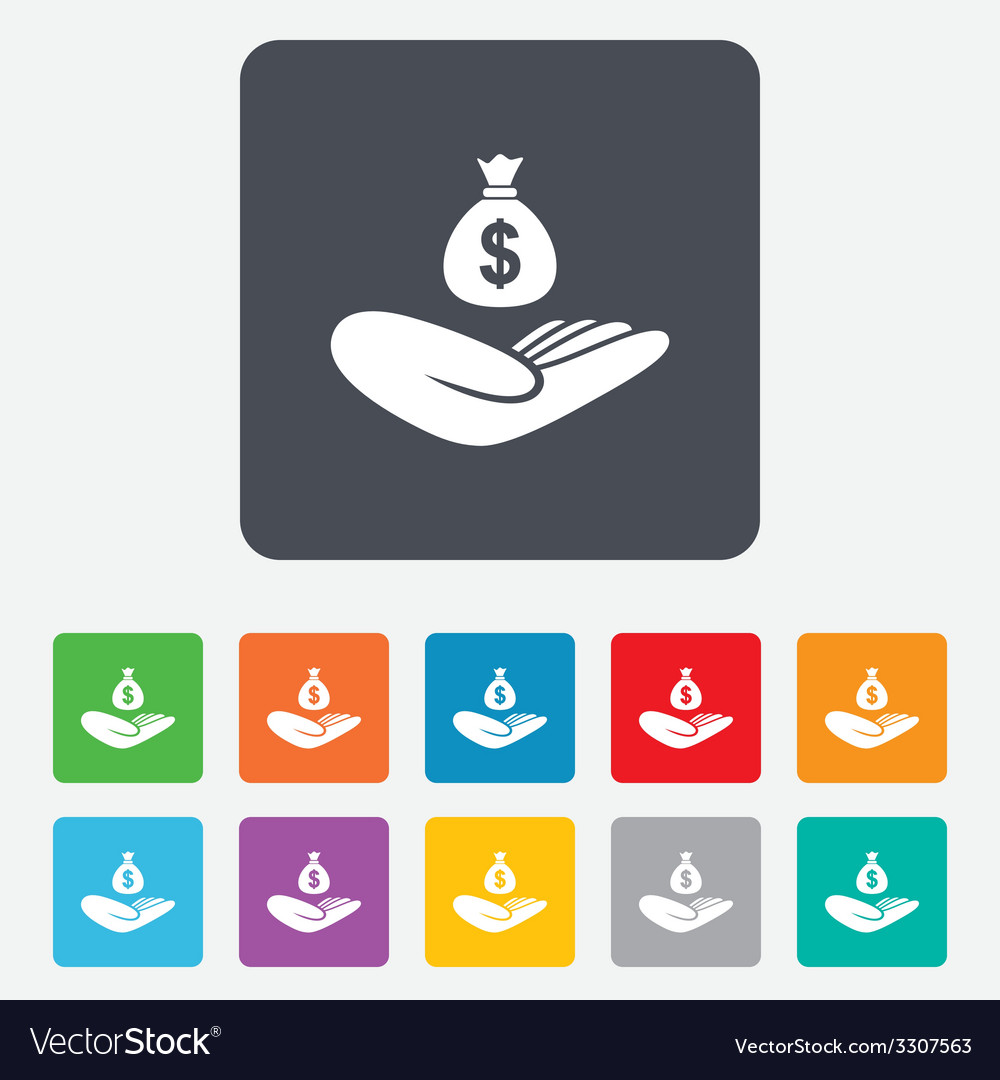 Money insurance sign hand holds cash bag vector | Price: 1 Credit (USD $1)