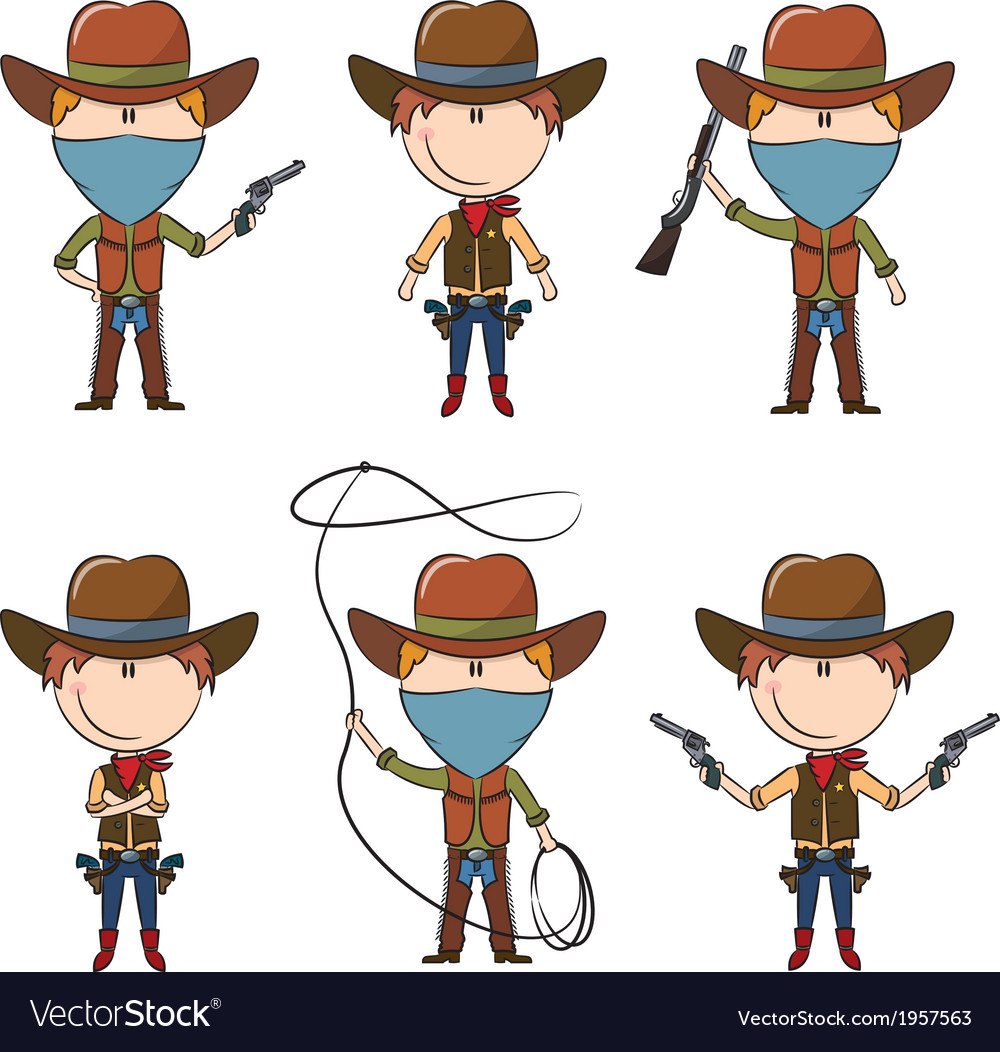 Sheriff and bandit characters vector | Price: 1 Credit (USD $1)