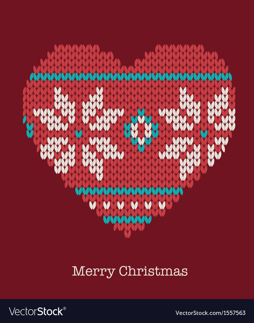 Xmas heart ornaments - seamless knitted background vector | Price: 1 Credit (USD $1)