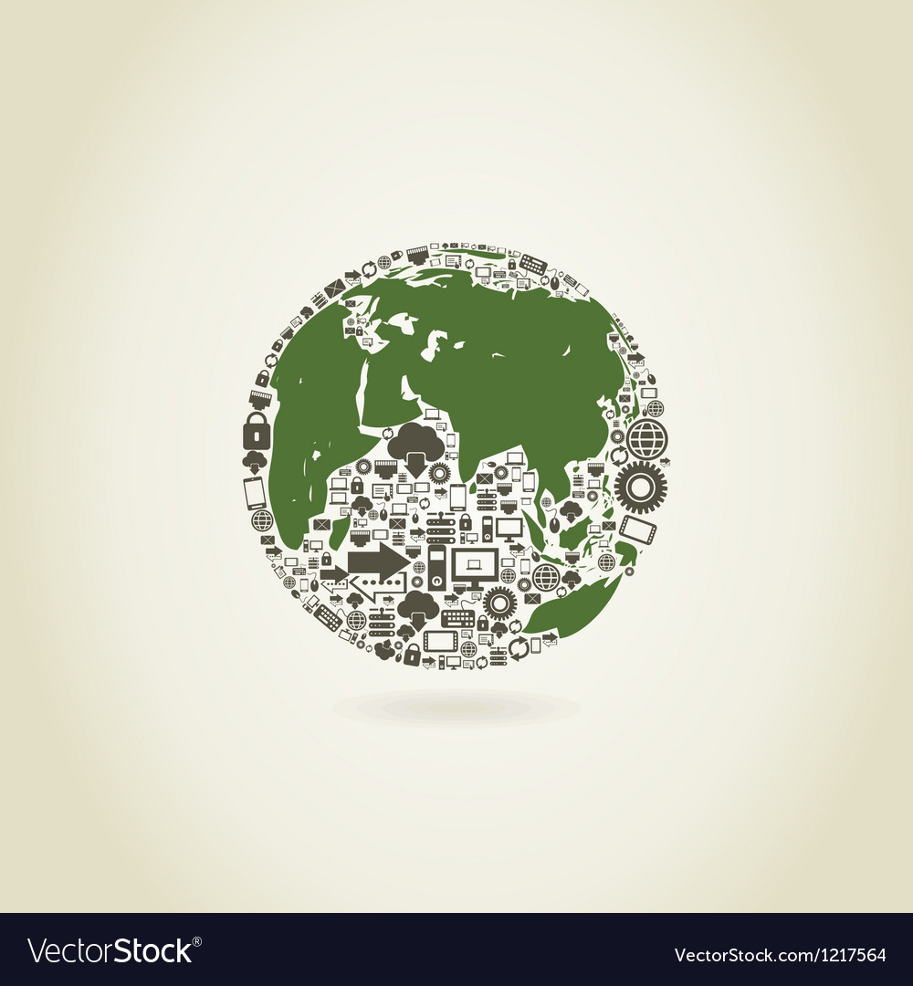 Computer a planet vector | Price: 1 Credit (USD $1)