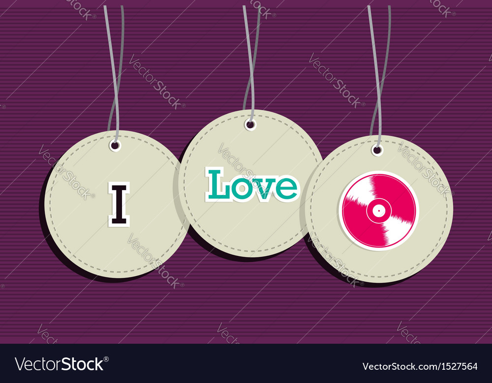 Hanging i love music badges vector | Price: 1 Credit (USD $1)