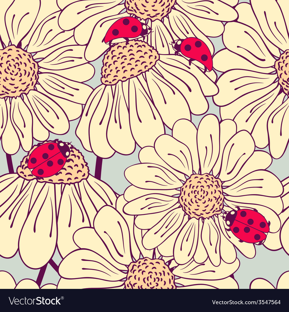 Ladybug and daisy seamless pattern vector | Price: 1 Credit (USD $1)