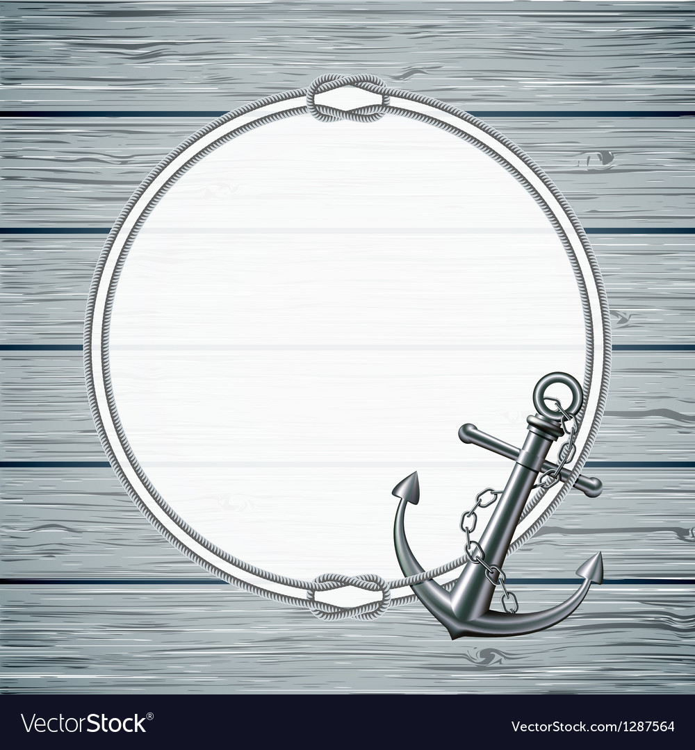 Nautical card with frame of the rope and anchor vector | Price: 3 Credit (USD $3)