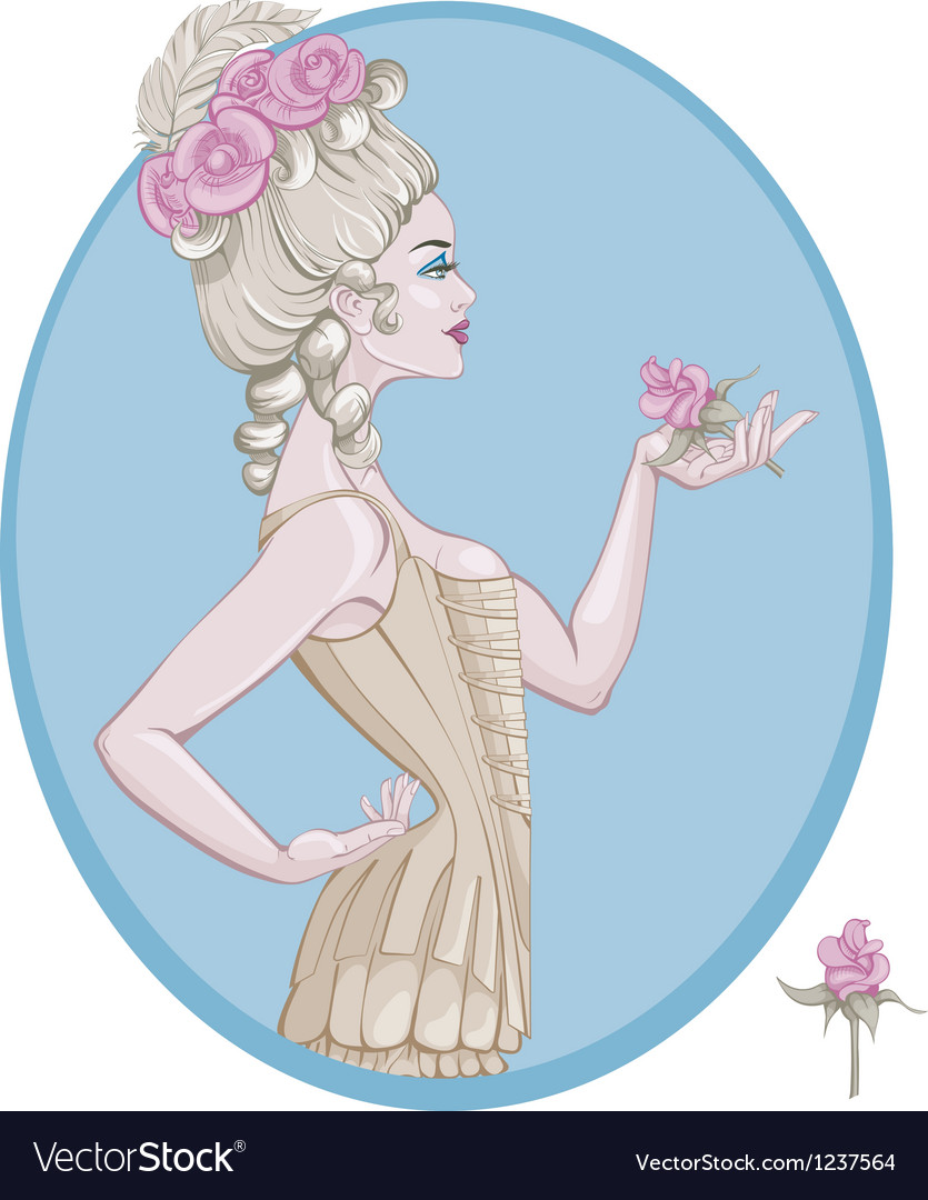 Rococo style young woman vector | Price: 5 Credit (USD $5)