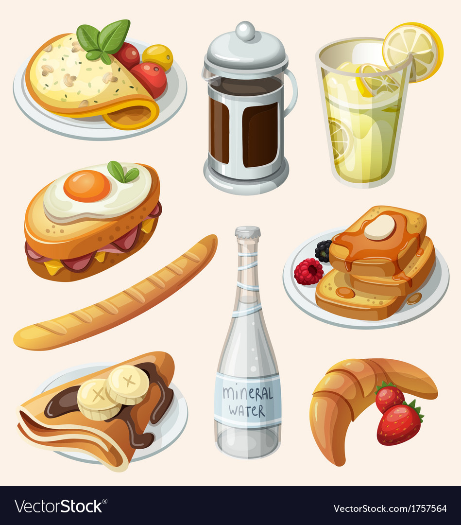 Set of french breakfast elements vector | Price: 3 Credit (USD $3)