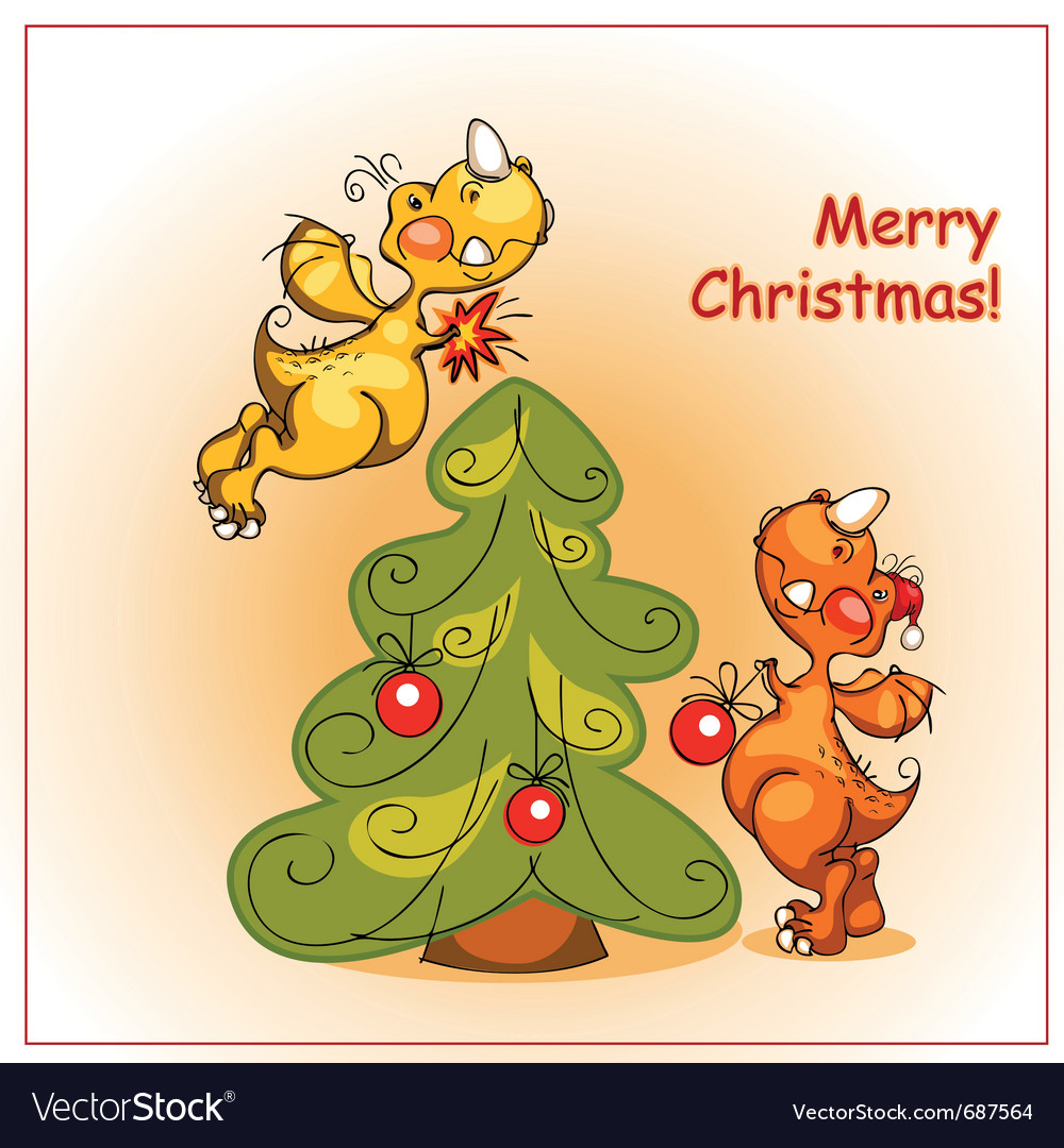 Two cheerful dragon decorate a christmas tree vector | Price: 1 Credit (USD $1)