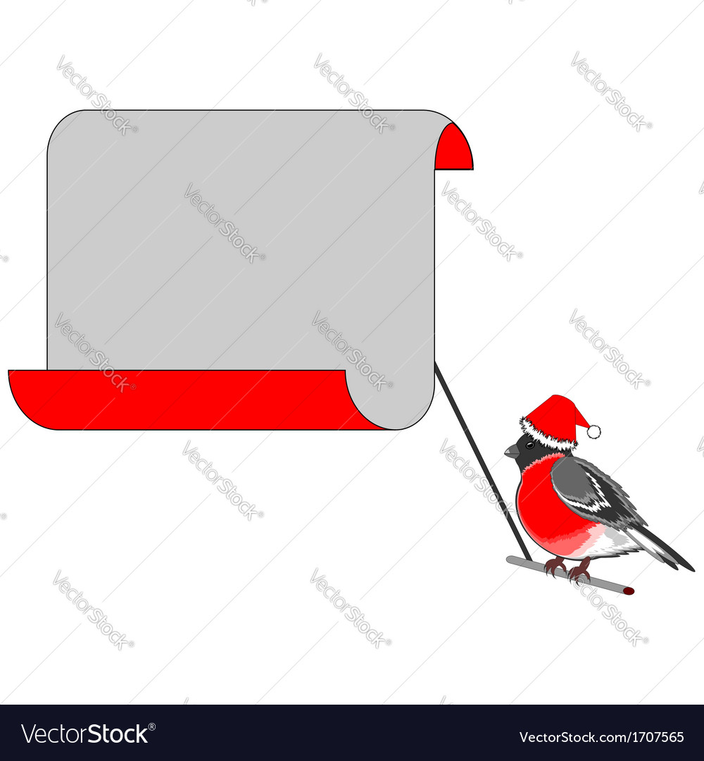 A christmas bullfinch with a big blank paper vector | Price: 1 Credit (USD $1)