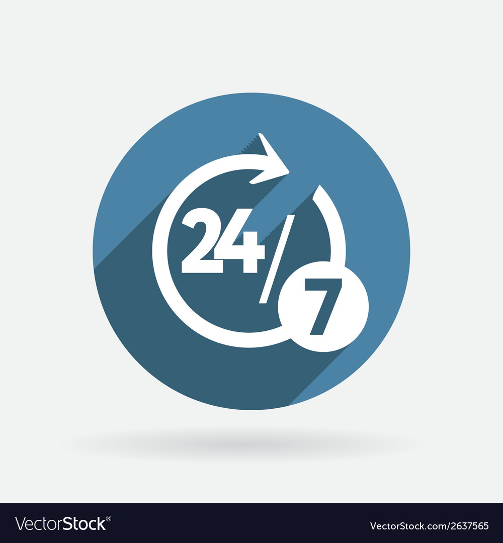 Character 24 7 circle blue icon with shadow vector | Price: 1 Credit (USD $1)