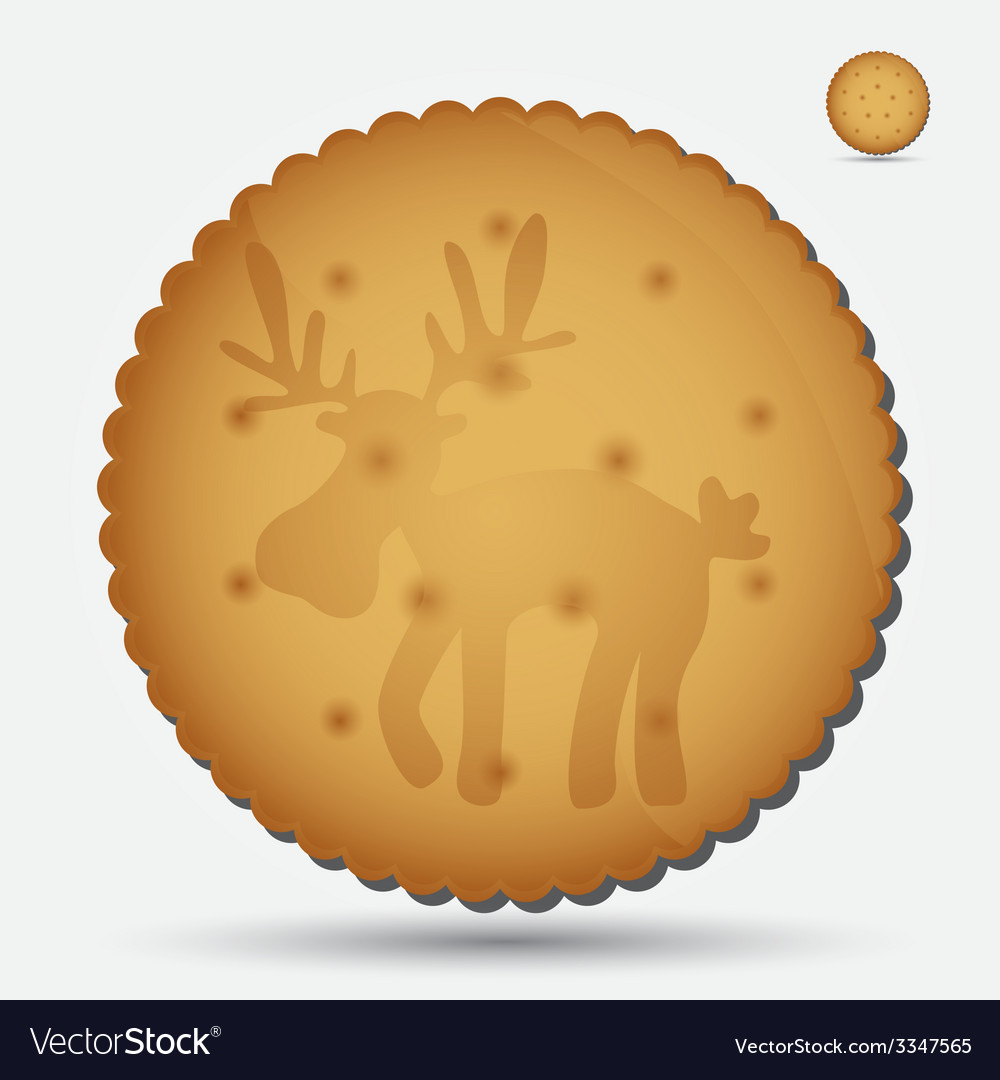 Christmas brown biscuit with reindeer symbol eps10 vector | Price: 1 Credit (USD $1)