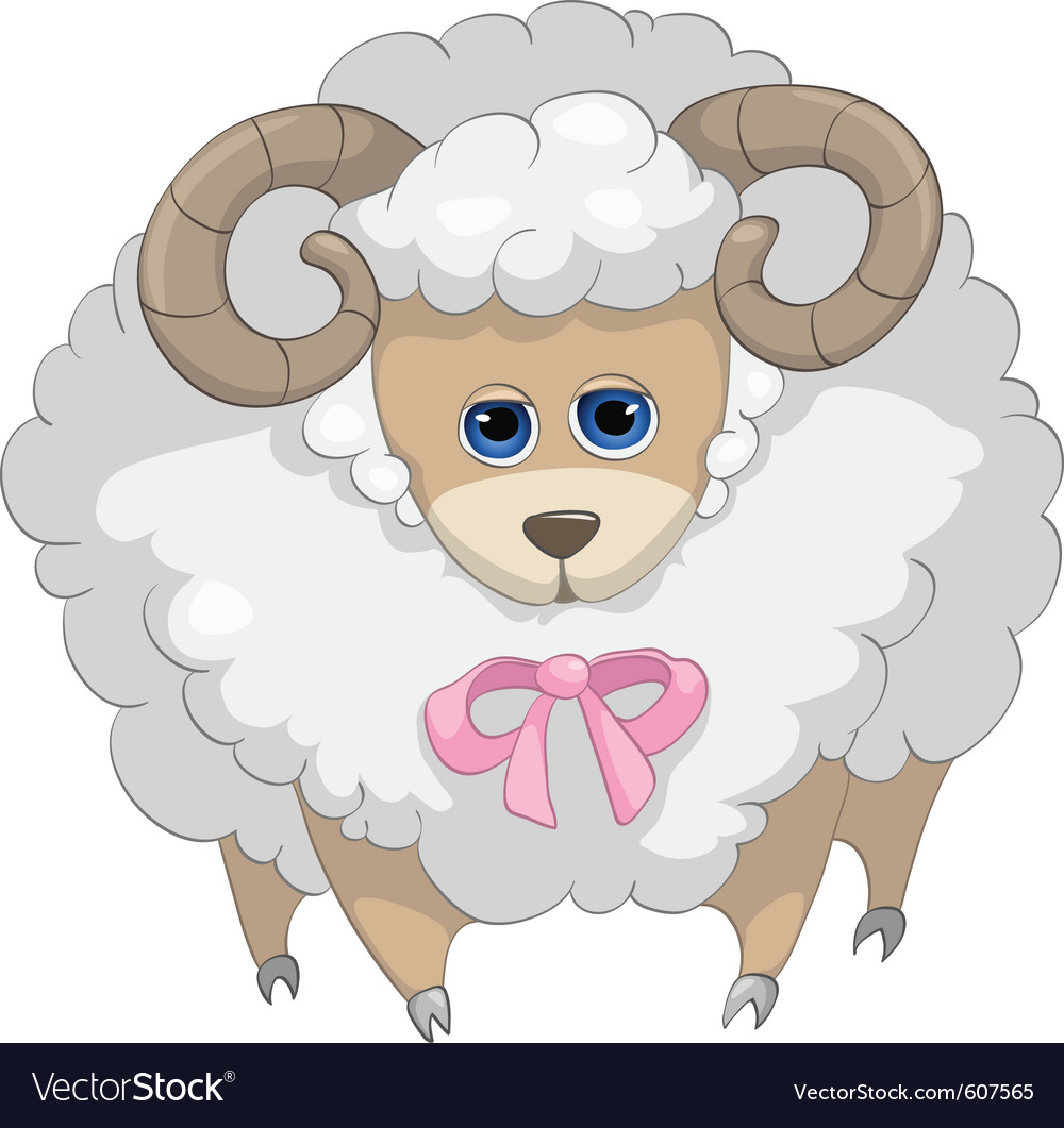 Cute sheep cartoon vector | Price: 3 Credit (USD $3)