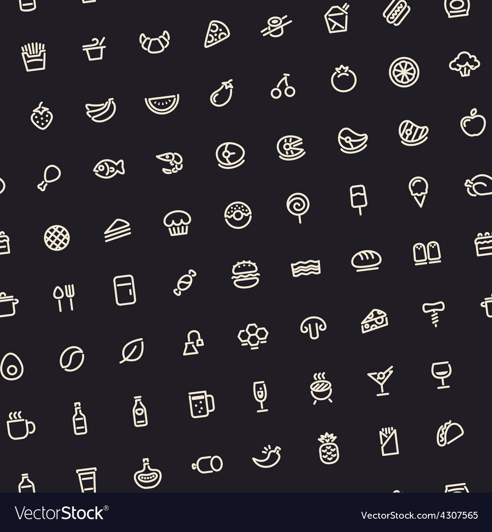 Dark tilted seamless pattern with light food icons vector | Price: 1 Credit (USD $1)