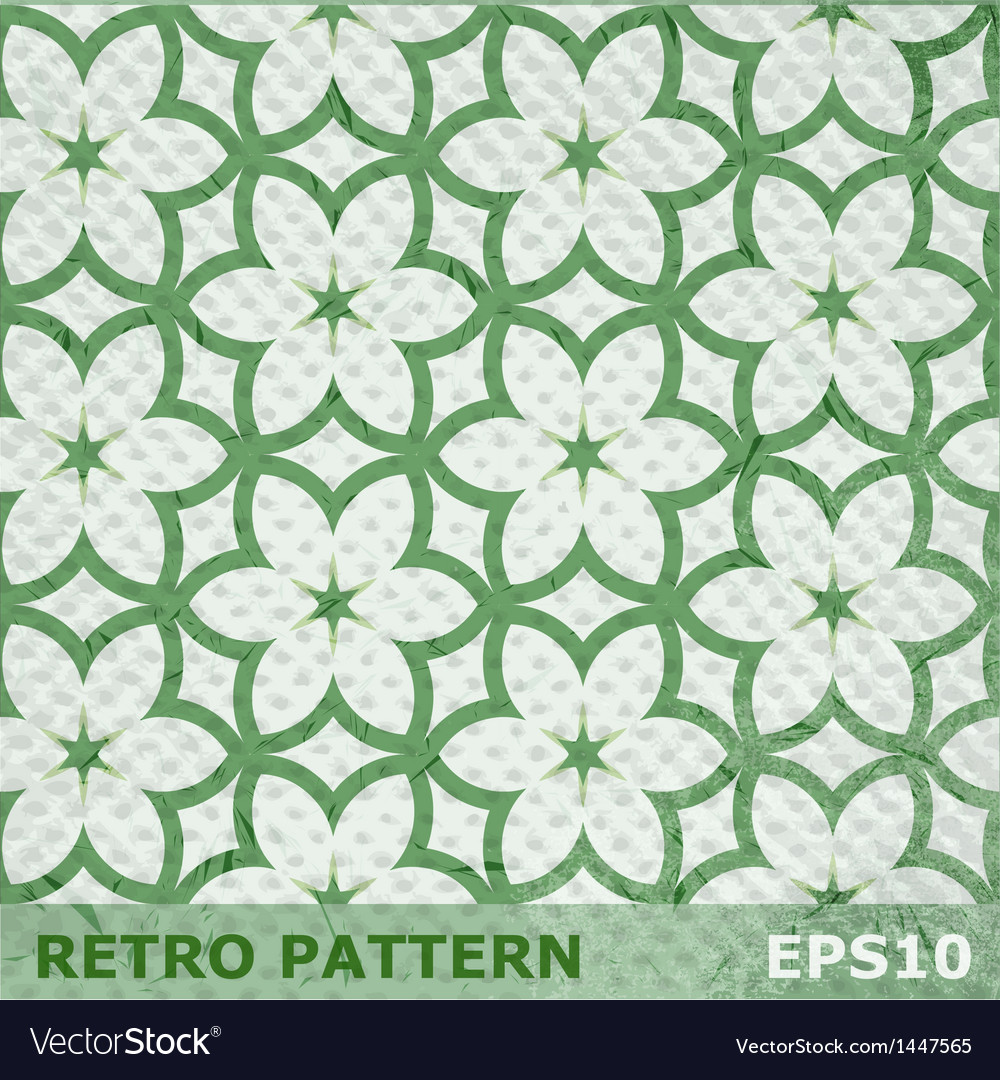 Green flowers seamless pattern on retro background vector | Price: 1 Credit (USD $1)