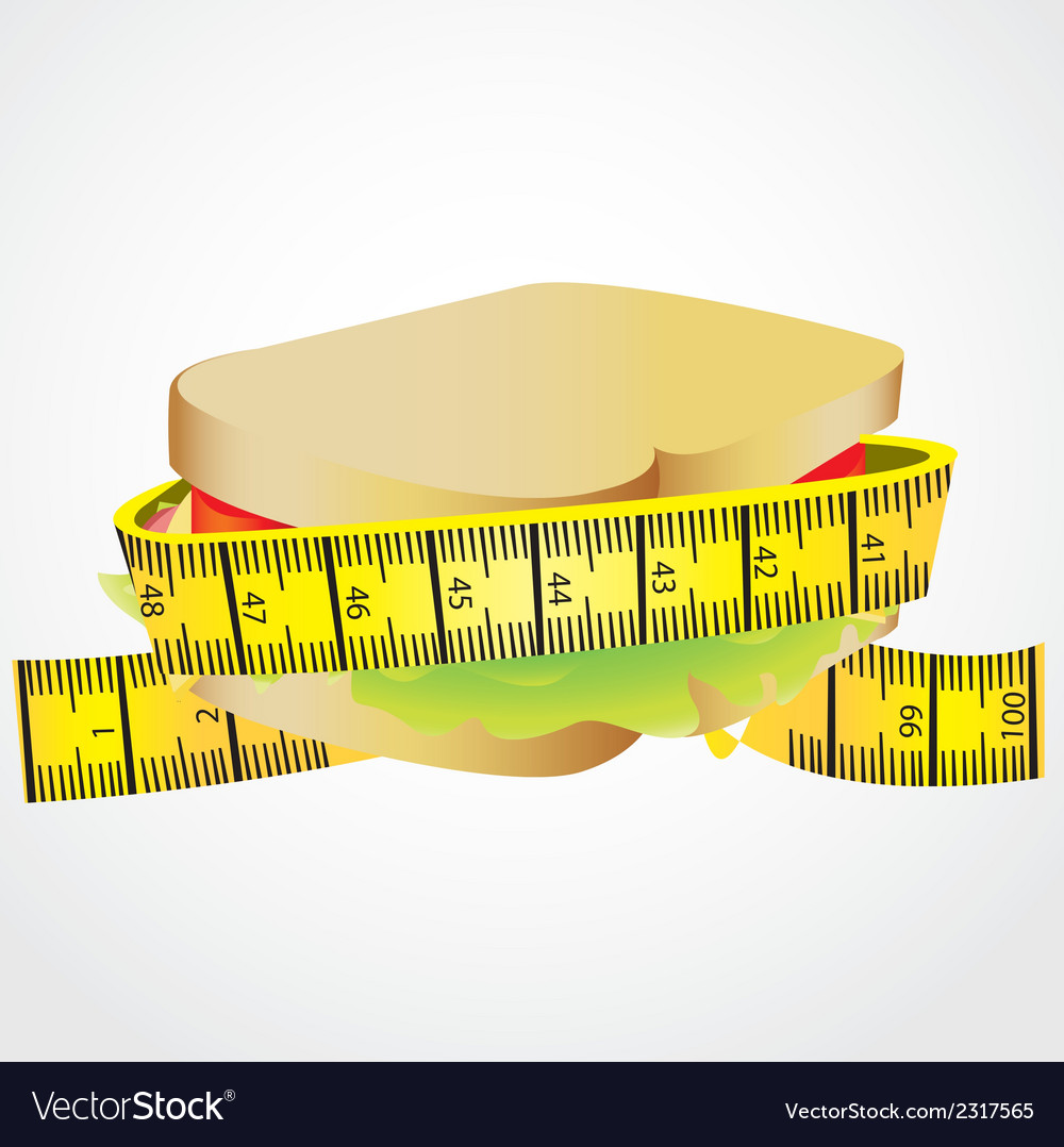 Measuring tape around sandwich vector | Price: 1 Credit (USD $1)