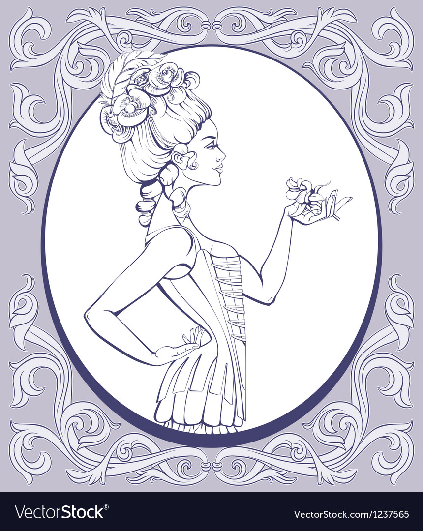 Rococo style young woman lined vector | Price: 1 Credit (USD $1)