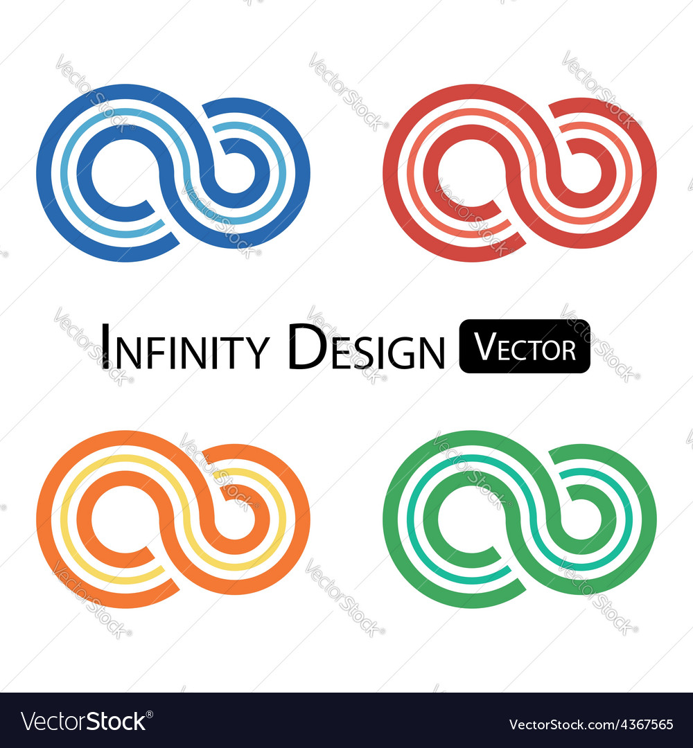 Set of colorful infinity symbol vector | Price: 1 Credit (USD $1)