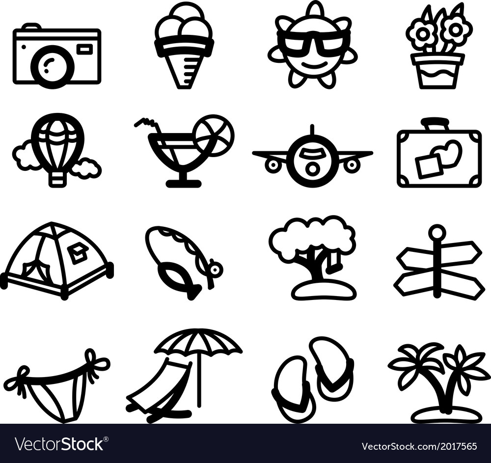 Summer glyphs vector | Price: 1 Credit (USD $1)
