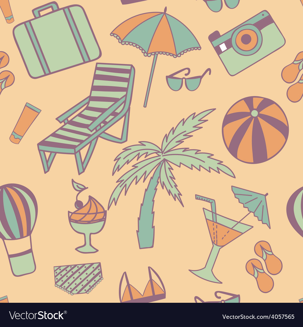 Travel touristic seamless pattern with trip vector | Price: 1 Credit (USD $1)
