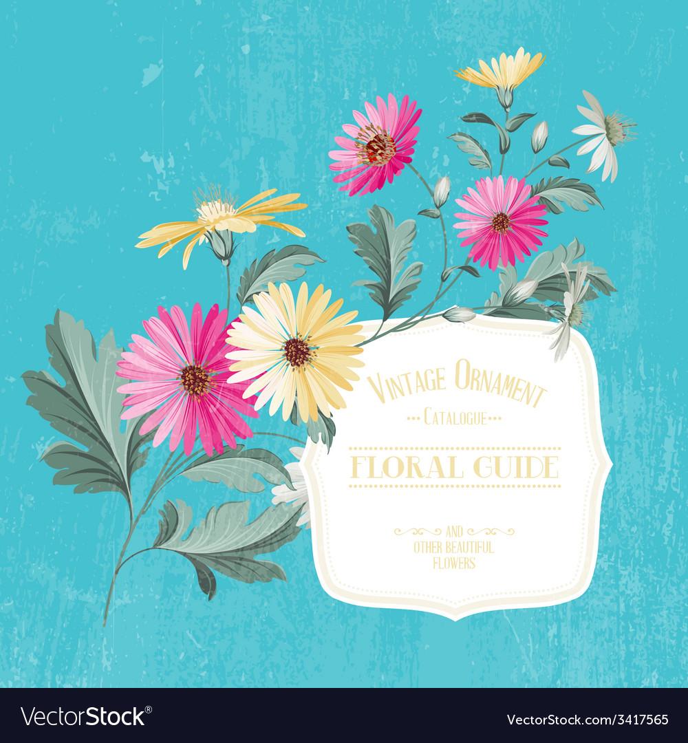 Vintage flower card vector | Price: 1 Credit (USD $1)