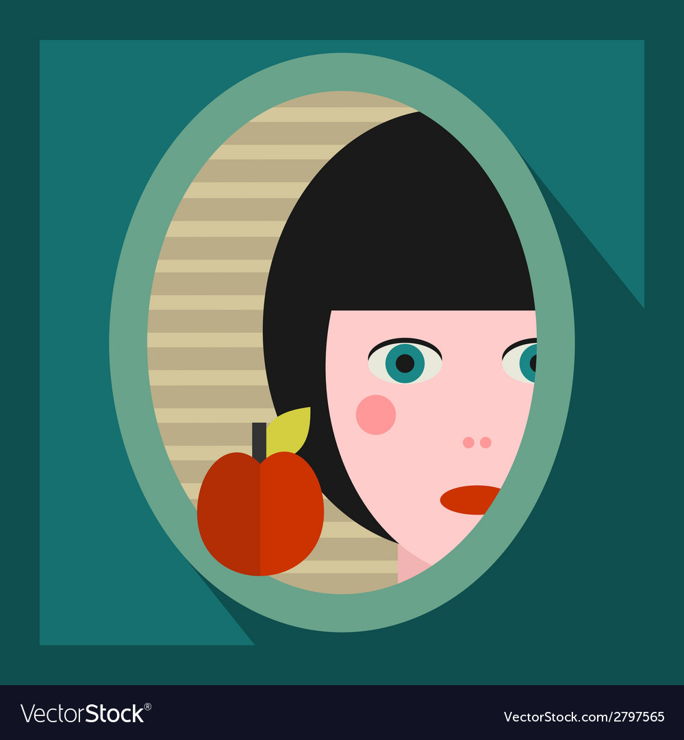Young girl face in the mirror vector | Price: 1 Credit (USD $1)