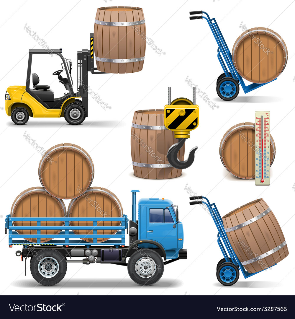 Barrels shipping icons vector | Price: 3 Credit (USD $3)