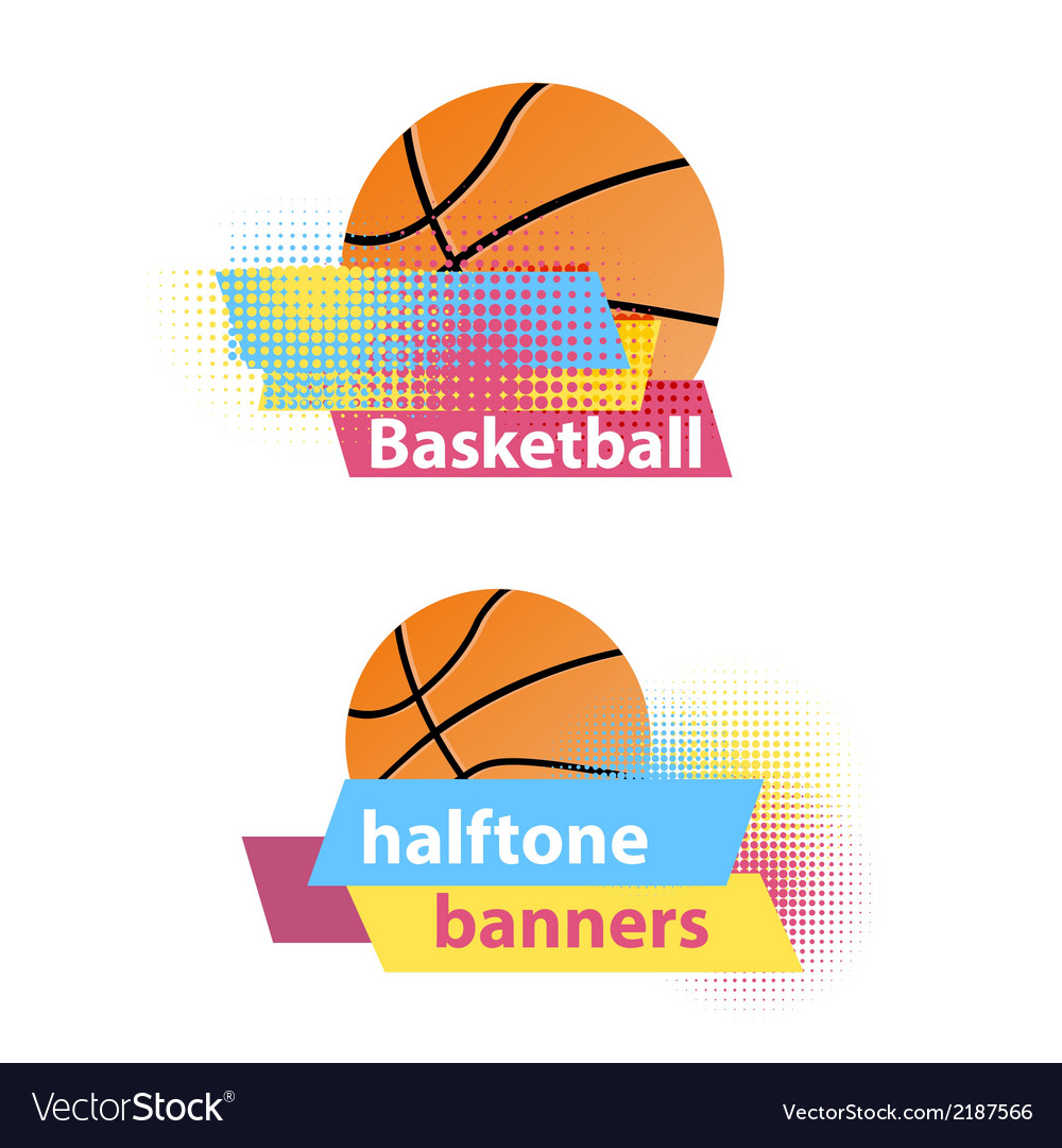 Basketball halftone banners vector