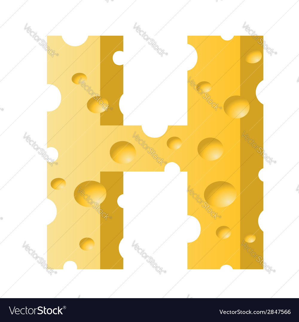 Cheese letter h vector | Price: 1 Credit (USD $1)