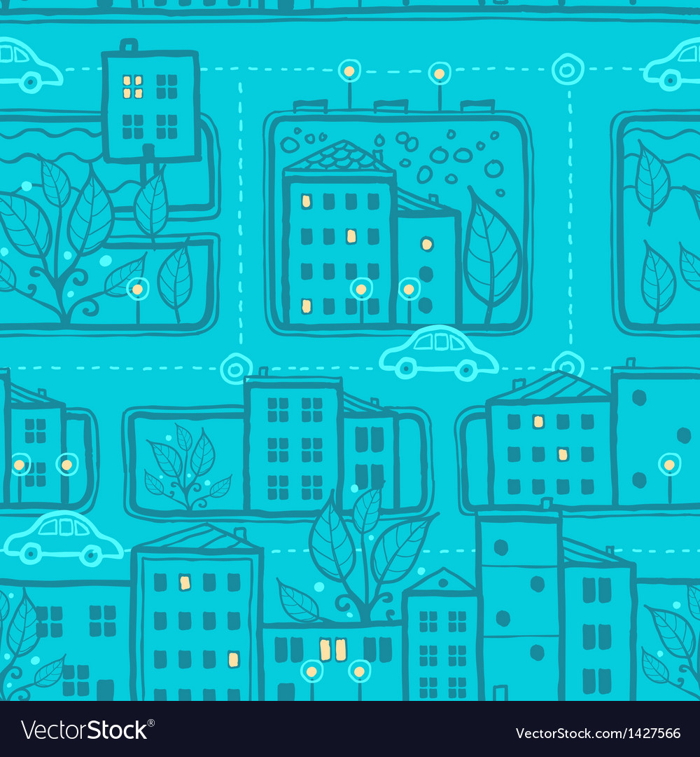 City streets seamless pattern background vector | Price: 1 Credit (USD $1)