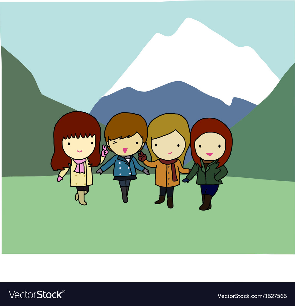 Four cheerful girls with mountain in background vector   Price: 1 Credit (USD $1)