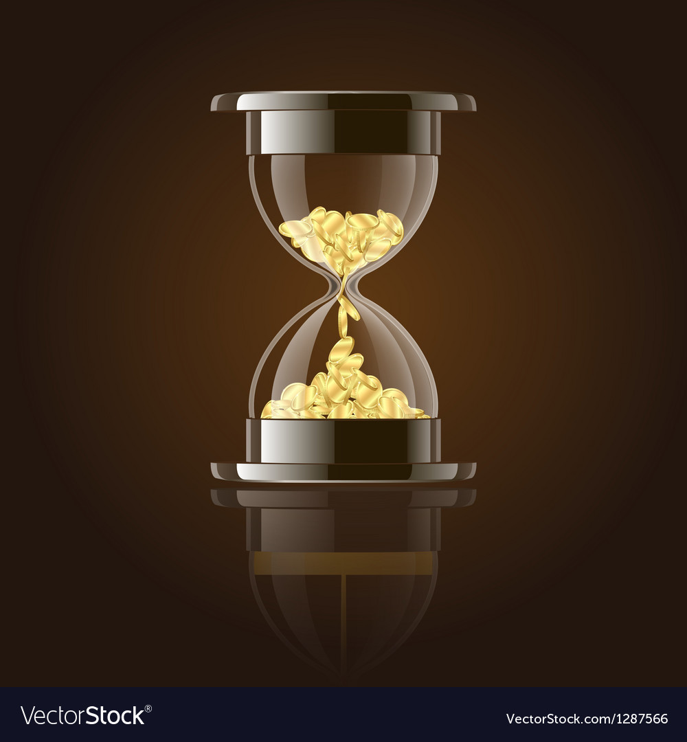 Hourglass with gold coins over dark background vector | Price: 3 Credit (USD $3)