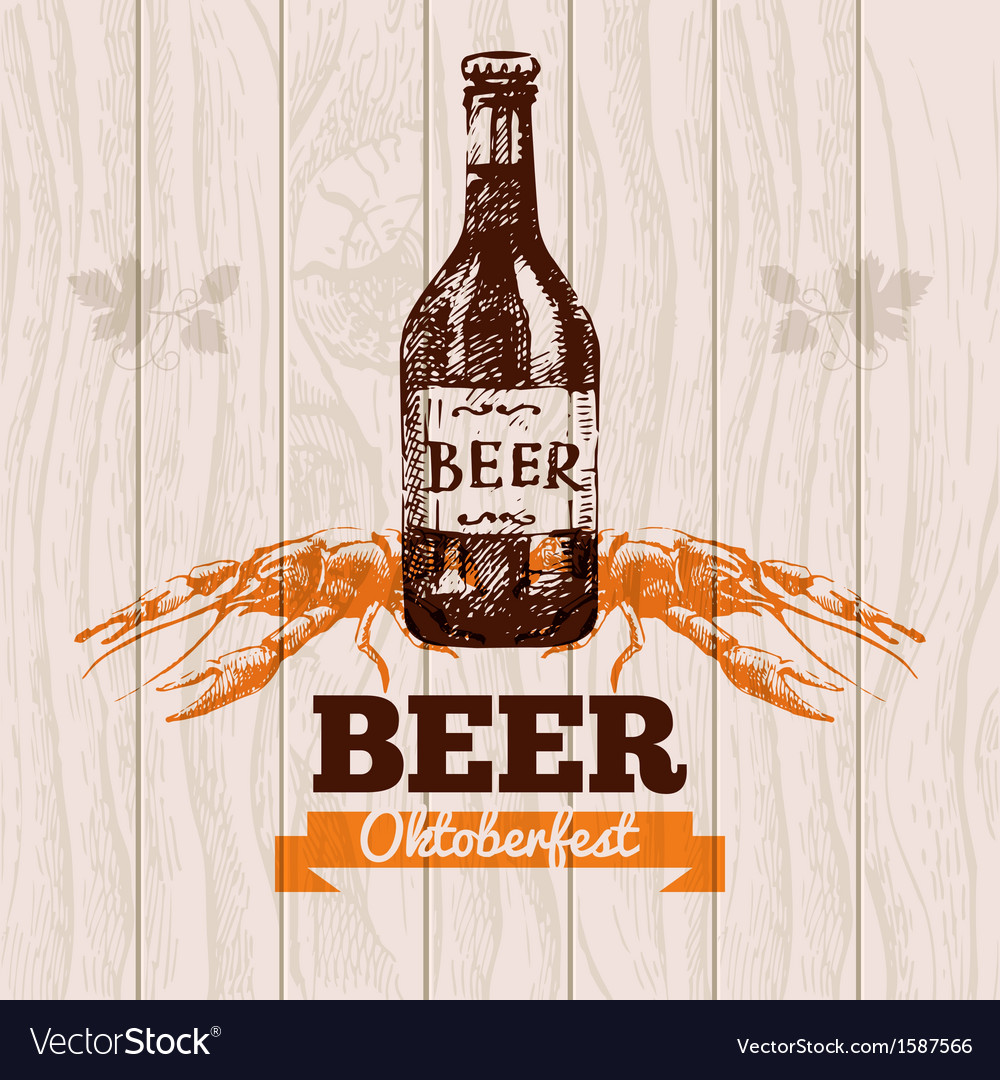 Oktoberfest vintage background beer hand drawn me vector | Price: 1 Credit (USD $1)