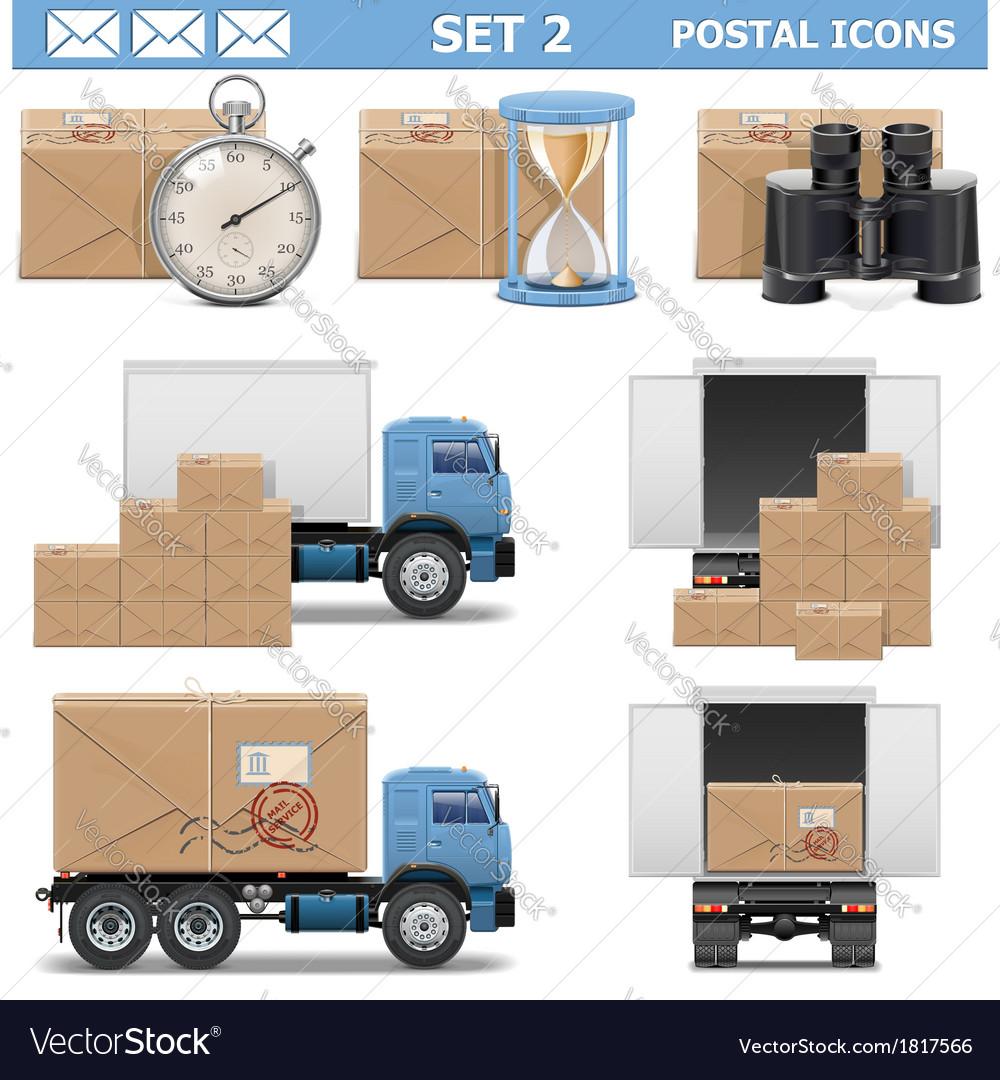 Postal icons set 2 vector | Price: 3 Credit (USD $3)