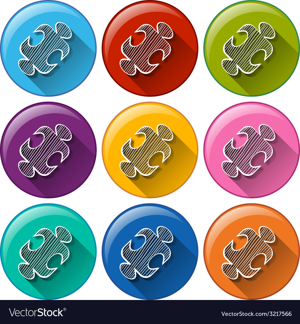 Round icons with a math puzzle vector   Price: 1 Credit (USD $1)