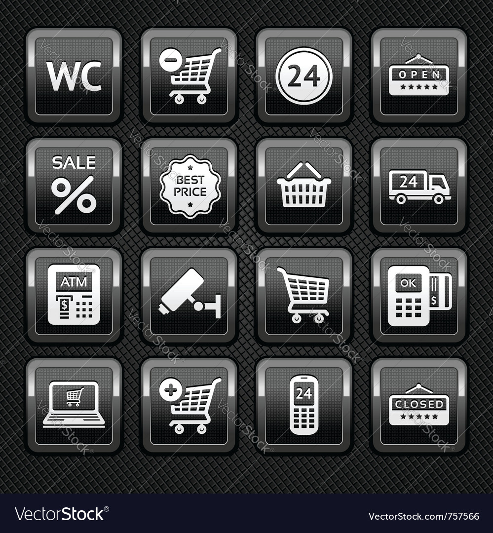 Shopping supermarket icons vector | Price: 1 Credit (USD $1)
