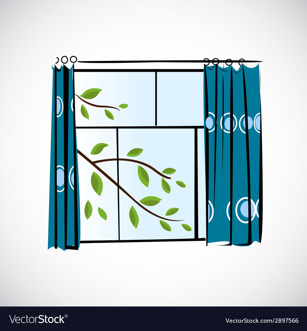 Window with curtains on a bright background vector | Price: 1 Credit (USD $1)