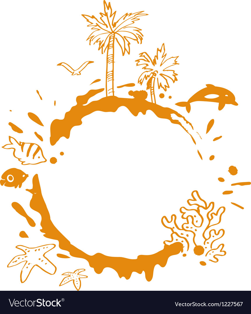 Beach with tropical palm trees fish and splash vector | Price: 1 Credit (USD $1)
