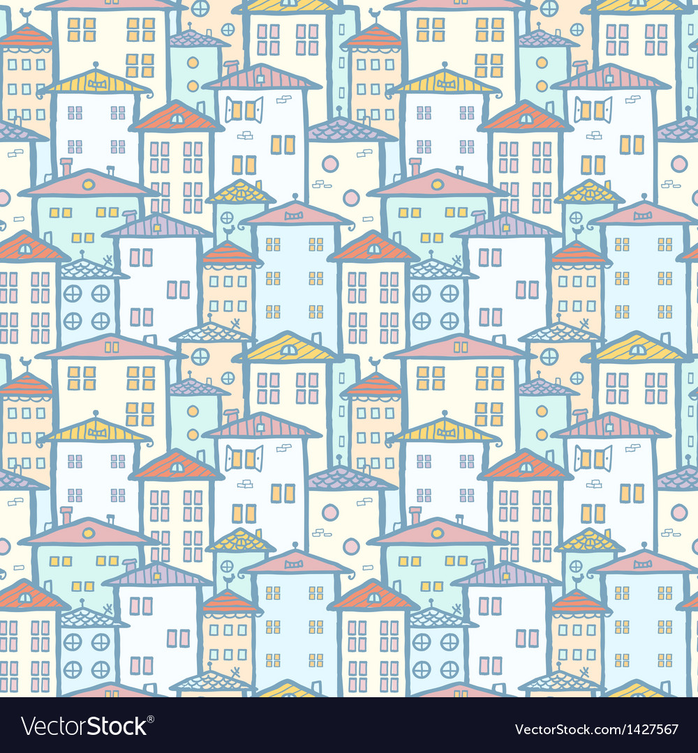 City houses seamless pattern background vector | Price: 1 Credit (USD $1)