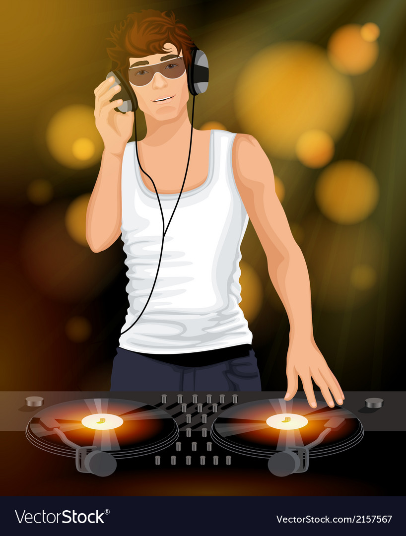 Male dj with headphones vector | Price: 1 Credit (USD $1)