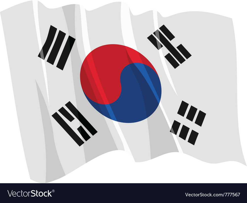 Political waving flag of south korea vector | Price: 1 Credit (USD $1)