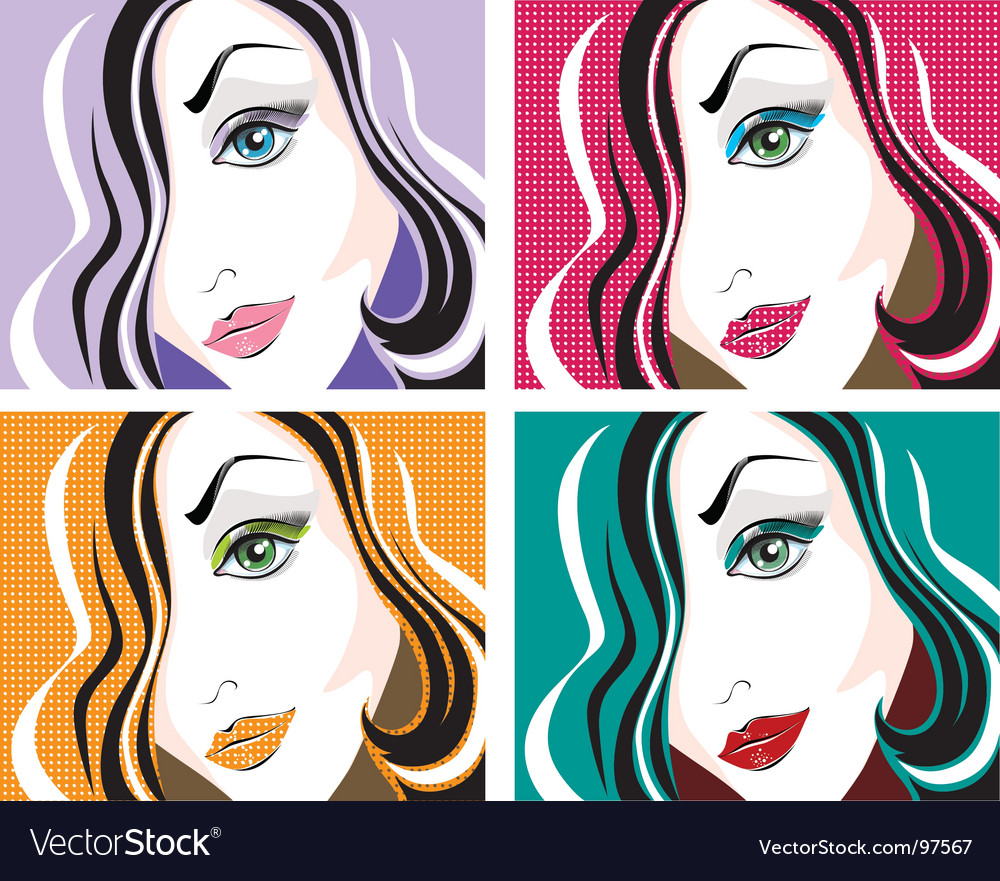 Pop art face vector | Price: 1 Credit (USD $1)