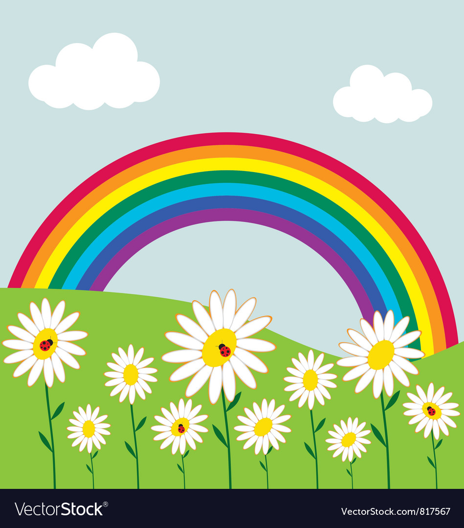 Rainbow and flowers vector | Price: 1 Credit (USD $1)