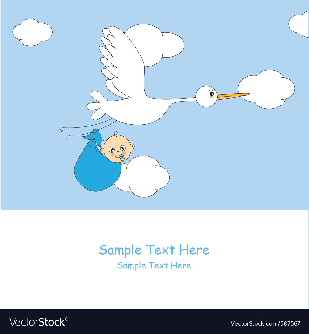 Stork with baby boy vector | Price: 1 Credit (USD $1)