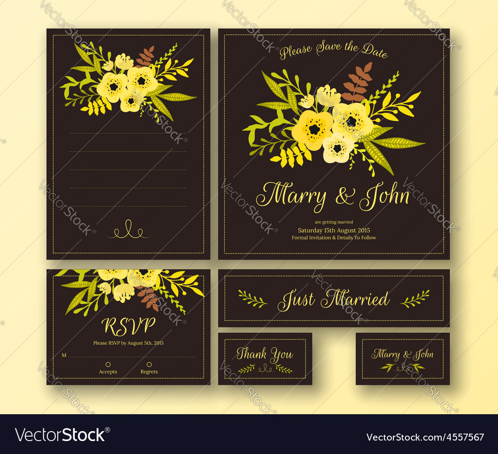 Wedding set of various cards vector | Price: 1 Credit (USD $1)