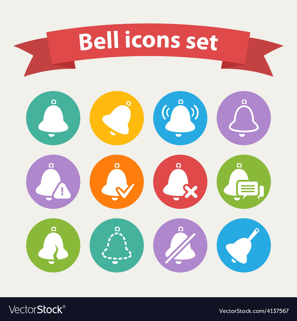 White bell icons set vector | Price: 1 Credit (USD $1)