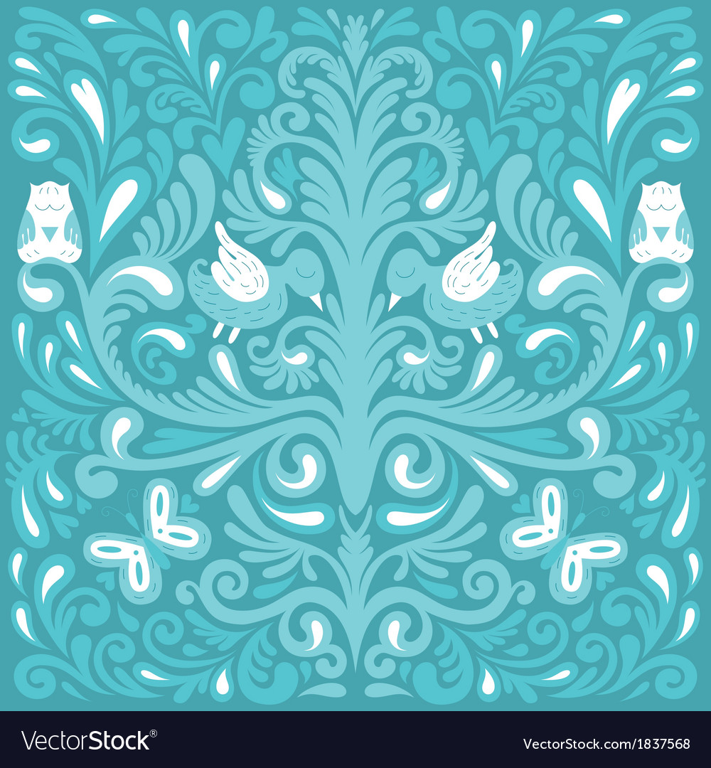 Beautiful floral pattern with owl vector | Price: 1 Credit (USD $1)