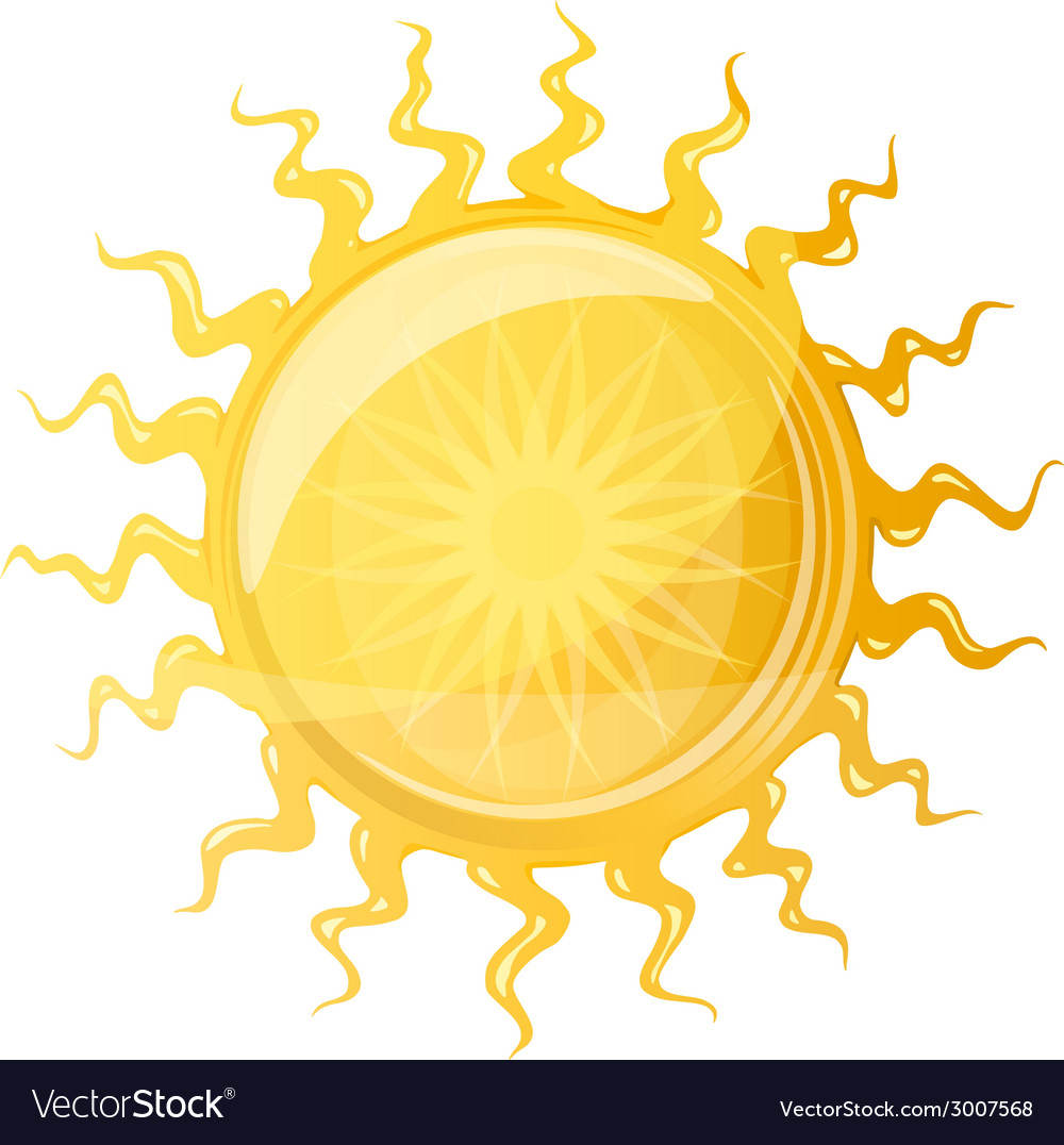Big sun with wavy rays vector | Price: 1 Credit (USD $1)