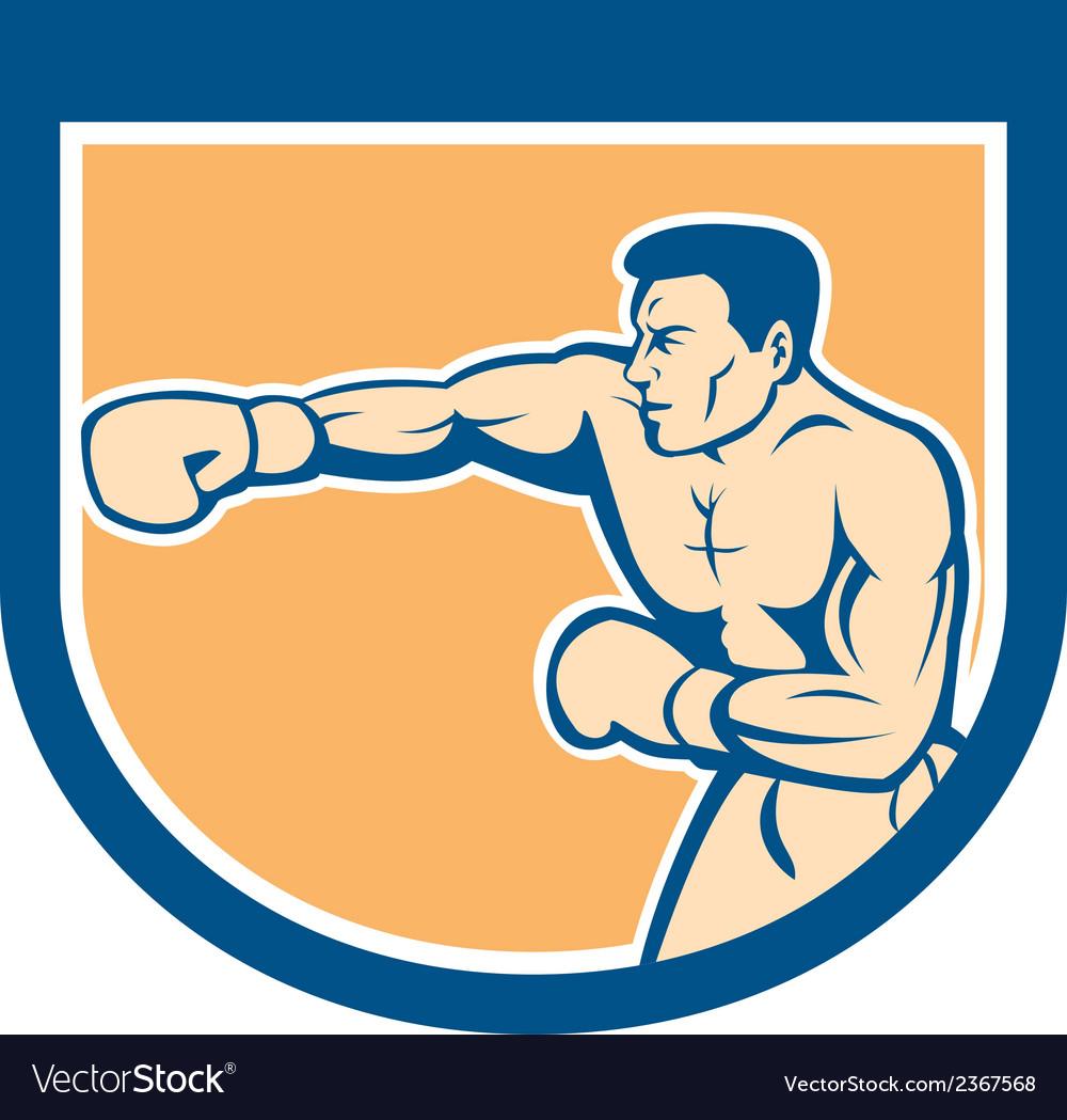 Boxer boxing punching shield cartoon vector | Price: 1 Credit (USD $1)